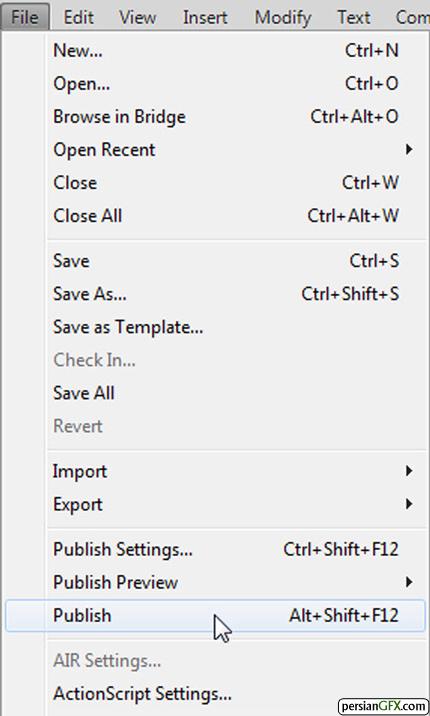 ذخیره سازی با فرمت SWF