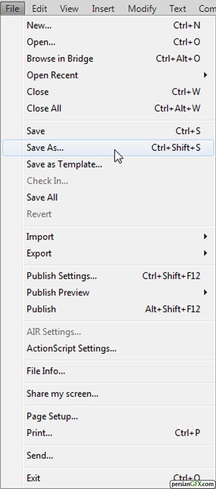 ذخیره سازی سند در فلش با فرمت FLA