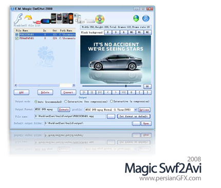 تبدیل فایل های فلش به فرمت های دیگر با Magic Swf2Avi 2008 build 665.9.803