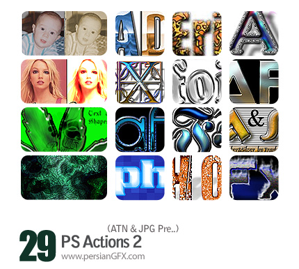 مجموعه اکشن های زیبای تغییر حالات و رنگ تصاویر و متون - PS Actions 02