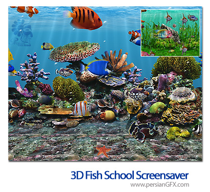 محافظ صفحه نمایش مدرسه ماهی - 3D Fish School 4.8