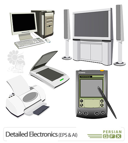 مجموعه وکتور های تصاویر الکترونیکی - Detailed Electronics