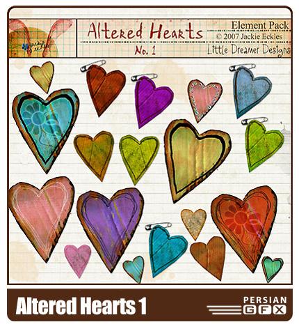 مجموعه تصاویر کلیپ آرت قلب شماره یک - Altered Hearts 01