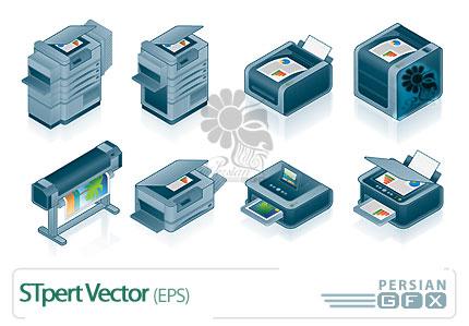 تصاویر وکتور از دستگاه های چاپ - Printing vector