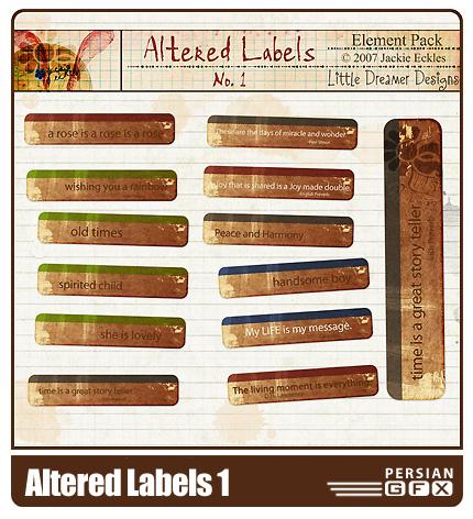 مجموعه تصاویر کلیپ آرت اتيکت شماره یک - Altered Labels 01