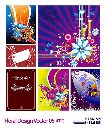 مجموعه تصاویر وکتور با طراحی گل شماره پنج - Floral Design Vector 05
