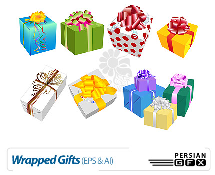 طرح های وکتور هدیه - Wrapped Gifts Vectors