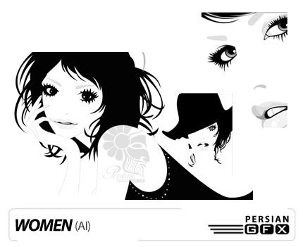 مجموعه طرح های وکتور سیاه و سفید دختران - Woman Vector