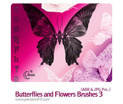 براش هایی زیبا از پروانه ها و گل ها شماره سه - Butterflies and Flowers Brushes 03