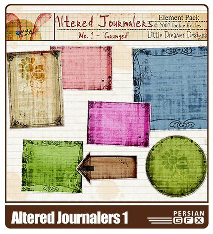 مجموعه تصاویر کلیپ آرت پس زمینه شماره یک  - Altered Journalers 01