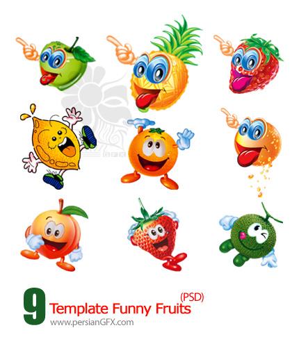 تصاویر لایه باز میوه های جالب - Template Funny Fruit PSD