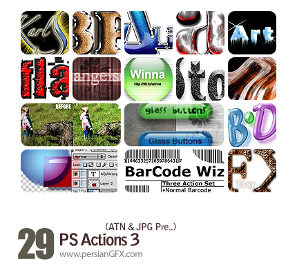 مجموعه اکشن های تغیرات جالب در تصاویر و متون - PS Actions 03