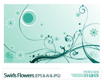 پک وکتور زیبای پس زمینه - Swirls Flowers