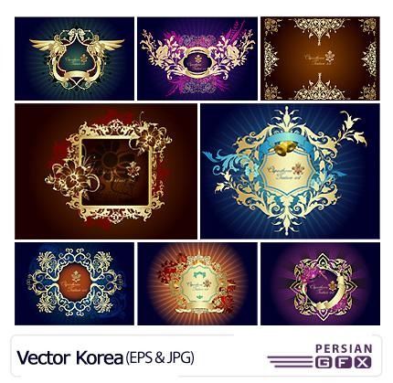 مجموعه فریم های طلایی وکتور - Vector Korea