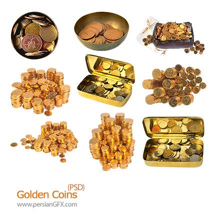 تصاویر لایه باز سکه های طلا - Golden Coins