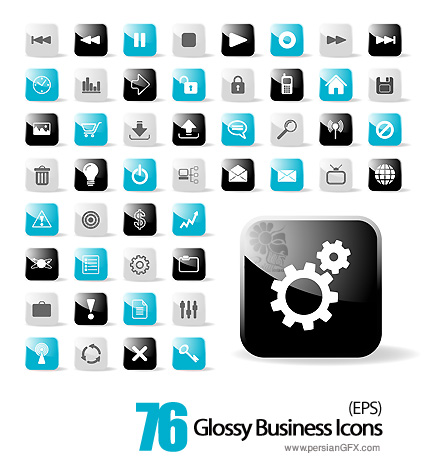 کلکسیون آیکون های تجاری شیشه ای - Glossy Business Icons