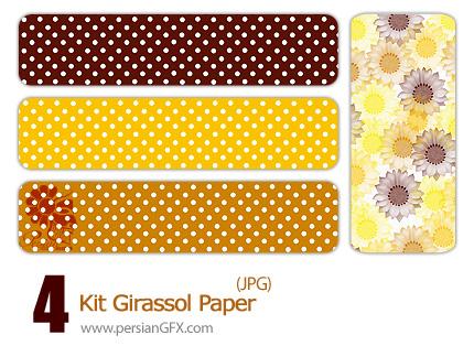 4 پترن گل آفتابگردان - Kit Girassol  Paper