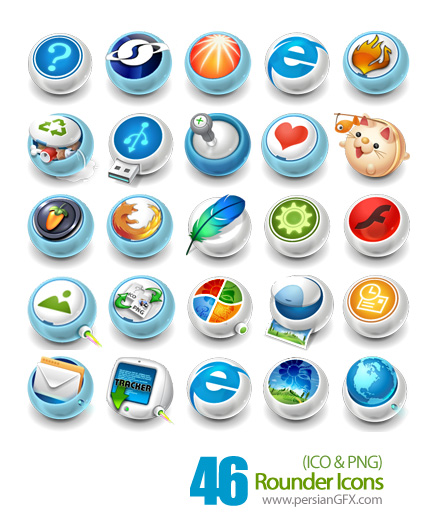 مجموعه آیکون های گرد فانتزی - Rounder Icons