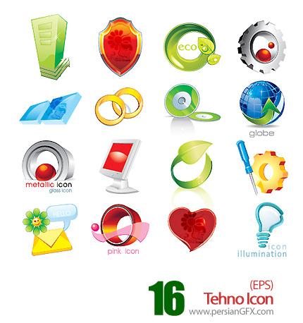 شانزده آیکون فانتزی وکتور - Tehno Icon