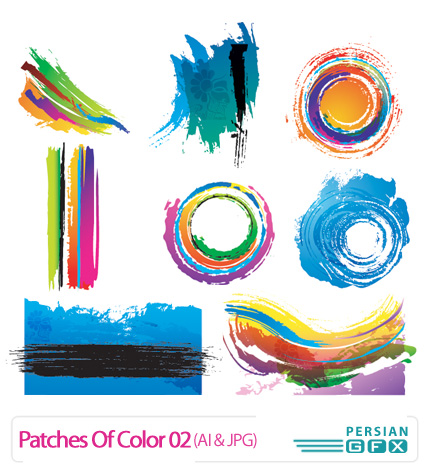 مجموعه تصاویر وکتور لکه های هنری شماره دو - Patches Of Color 02