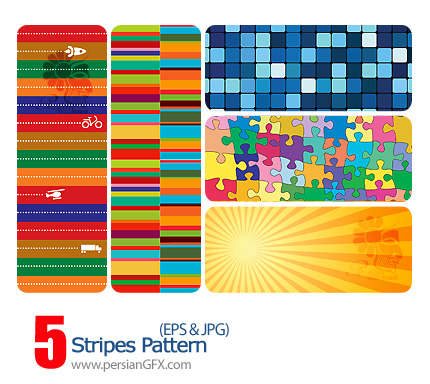 پترن وکتور با طرح های رنگی - Stripes Pattern