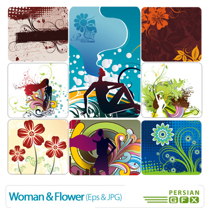 وکتور زن و نقوش گلدار  - Woman & Flower