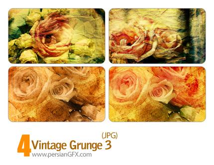 بافت کثیف گل شماره سه - Vintage Grunge 03