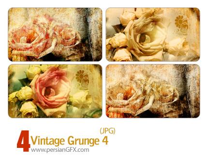 دانلود بافت کثیف گل شماره چهار - Vintage Grunge 04