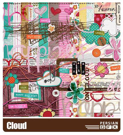 کلیپ آرت تزیینی، بافت، حروف لاتین، گل - Cloud