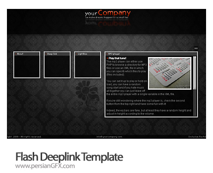 نمونه آماده وب سایت فلش گالری عکس - Flash Deeplink Template