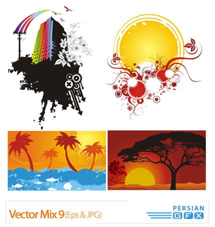 وکتور میکس نقوش گلدار شماره نه - Vector Mix 09