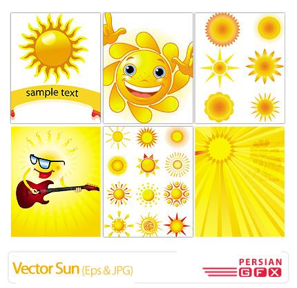 تصاویر وکتورتصویر سازی، خورشید، تزیینی، رنگی - Vector Sun
