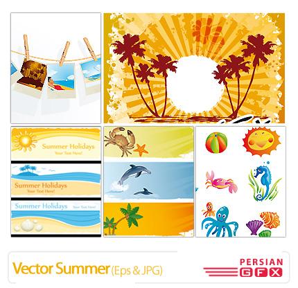 تصاویر وکتور تابستان، خورشید، تزیینی، رنگی - Vector Summer