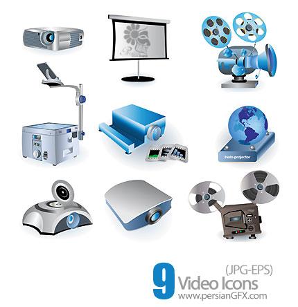 آیکون های وکتور ویدئویی، تصویری، عکاسی، چاپ فیلم وعکس - Video Icons