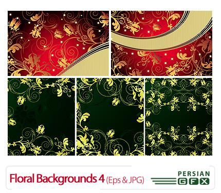 دانلود وکتور بک گلدار، نقوش اسلیمی شماره چهار - Floral Backgrounds 04