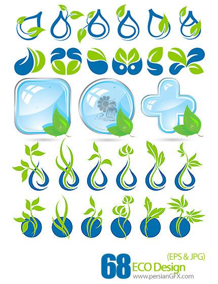 آیکون های وکتور برگ سبز، قطره آب، شفاف - ECO Design