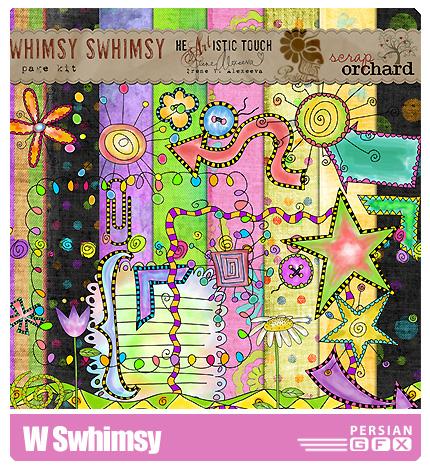 کلیپ آرت تزیینی جذاب، تکسچر، نقوش گلدار - W Swhimsy