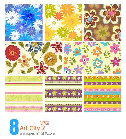 دانلود پترن های تزیینی وکتور، گلدار، کاغذ کادو شماره هفت - Art City 07