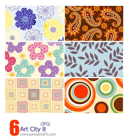 دانلود پترن های تزیینی وکتور، گلدار، کاغذ کادو شماره هشت - Art City 08