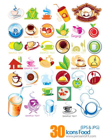 دانلود آیکون های وکتور غذا و رستوران - Icons Food