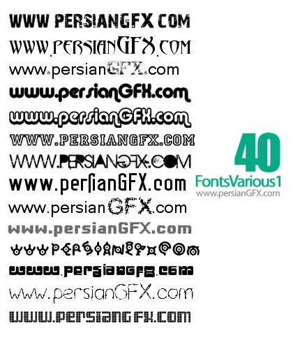 دانلود چهل فونت انگلیسی زیبا و گوناگون شماره یک - Fonts Various 01