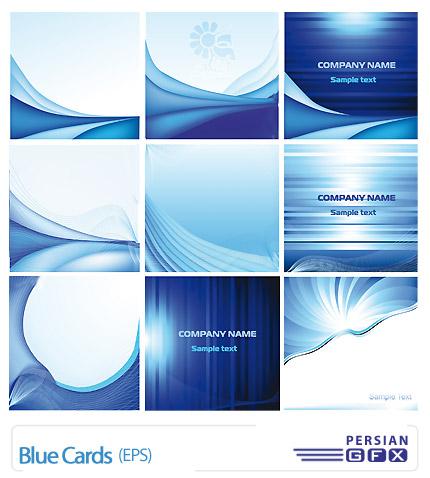 دانلود مجموعه کارت ویزیت های وکتور تجاری آبی رنگ - Blue Cards