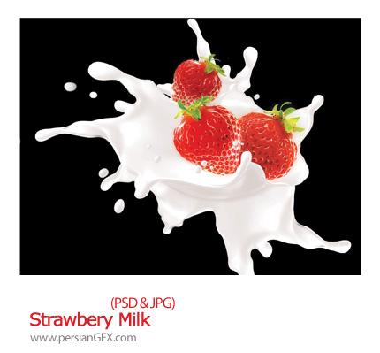 دانلود تصویر لایه باز توت فرنگی، شیر - Strawbery Milk