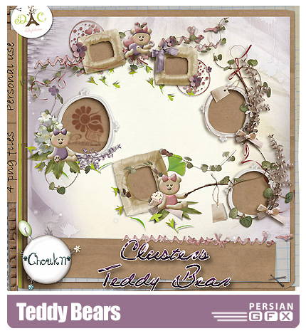 دانلود کلیپ آرت فانتزی، خرس عروسکی، تزیینی، گل، قاب -  Teddy Bears
