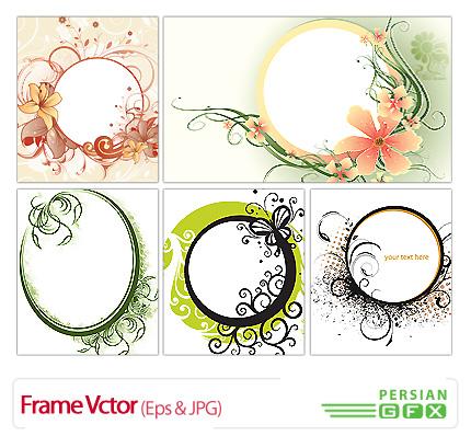 دانلود وکتور فرم گلدار، دایره شکل - Frame Vctor