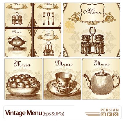 دانلود وکتور منو قهوه ا ی رنگ - Vintage Menu