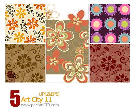 دانلود پترن های تزیینی وکتور، گلدار، کاغذ کادو شماره یازده - Art City 11