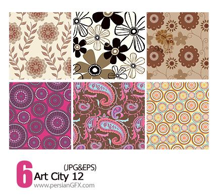 دانلود پترن های تزیینی وکتور، گلدار، کاغذ کادو شماره یازده - Art City 12