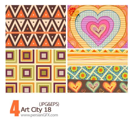 دانلود پترن های تزیینی وکتور گلدار، کاغذ کادو شماره هجده - Art City 18