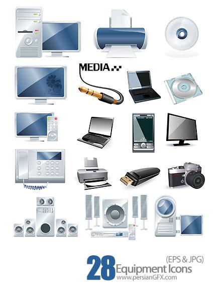 دانلود آیکون های تجهیزات الکتریکی، لوازم صوتی و تصویری - Equipment Icons